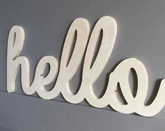 8 Inch High Unpainted hello wooden wall word