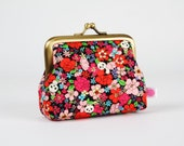 Frame purse - Panda Hide and seek - Big Aunty / Kawaii japanese fabric / Colorful flowers
