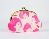 Metal frame coin purse - Dottie's friends in Orchid - Big smile / Japanese fabric / Cotton and Steel / Melody Miller / Fruit dots / red pink
