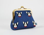 Metal frame change purse - Little dogs faces on navy blue - Deep mom / Japanese fabric / Navy blue white and black red / Cute Boston terrier