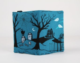 Fabric card holder - Hallow lane in blue / Japanese fabric / Boo / Cotton and Steel / Sarah Watts / Halloween / Grey pearlescent white black