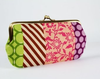Frame purse with two sections - Pipi stripes - Wowlet / Kisslock wallet / Japanese fabric / Echino / Green purple fuchsia brown beige