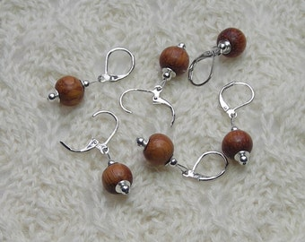 crochet knitting removable stitch markers - bayong wood  beads - 10mm beads - set of 6 - natural colored wood