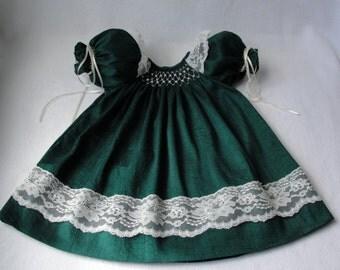 Smocked Infant / Baby / Toddler Dress /Silk dupioni dress/ Hand smocked silk dupioni Christmas Dress sizes 0-24 mos