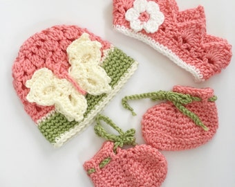 Summer baby hat bootie set in strawberry pink, watermelon green and white butterfly accent newborn photo prop 0 - 3 months shower gift