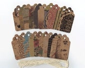 Haberdashery Collection Scallop Gift Hang Tags (Set of 20) Favor Bag Tags / Jewelry Tags / Ready To Ship