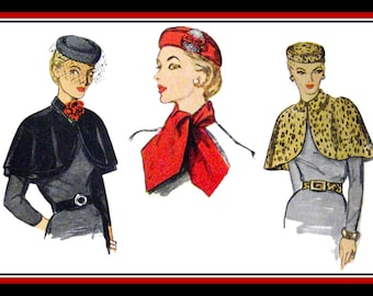 Vintage 1950-GLAMOROUS HAT-CAPES-Scarf-Belt-Sewing Pattern-Day-Four Styles-Evening Fashion Accessories-Uncut-Size Large –Mega Rare