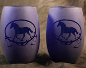 Blue Stemless Horse in oval with fourish  Frosted Etched Wine Glasses Set Of 2