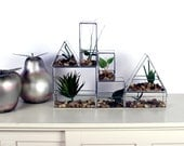 Stained Glass Stacking Planters - Horizontal Rectangle -Terrarium - Simple, Geometric, Modern