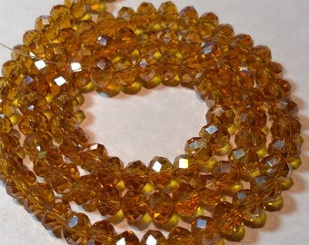 4x6mm Faceted Crystal Glass Rondelle Beads – Topaz AB