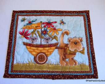 Quilted Cat Mug Rug, Mini Cat Wall Hanging, Cat Mini Placemat Quilted, Teal Brown Mug Rug with Cats