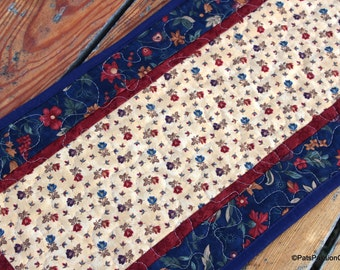 Quilted Table Runner Blue Floral, Navy Cranberry Gold Table Runner