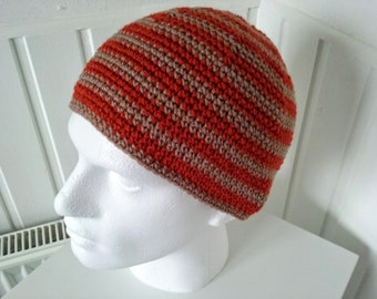 Mens Beanie,Skull cap in colours Rust and Mocha