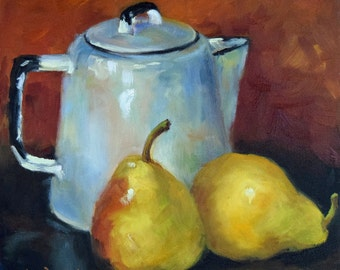 Pear Still Life Painting, Yellow Pears And White Enamelware Coffee Pot, Canvas Art,Original Oil Painting by Cheri Wollenberg
