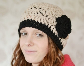 ON Sale Womens Beige Beanie Hat, Warm Chunky Hat, Crocheted with Flower