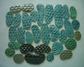 31Ma - MATTE MERMAID, Fish SCALES - Ceramic Mosaic Tile Set