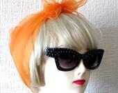 Chiffon Scarf in Orange Vintage Nylon very Rockabilly, Pin Up. Deadstock 50s / 60s VLV