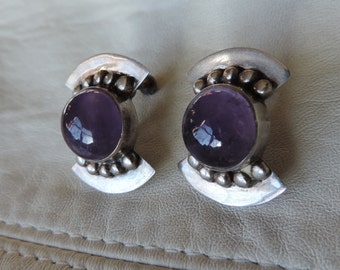 screwback earrings sterling amethyst mexico
