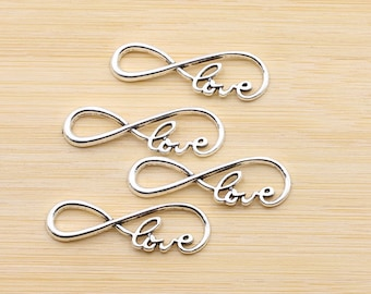 Love Connector Antique Silver Charm Infinity Pendant, Pack Of 10 Charms