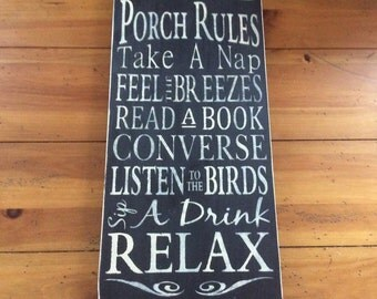 Porch rules - Porch rules sign - Porch sign - Porch decor - Porch signs - Rules sign - Front porch sign - Wooden porch sign - Wood signs