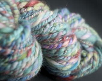 Landscape XI, bulky HandSpun and Hand Painted Yarn, blend of fibers including silk, wool, flax, angora, and merino, 75 yards