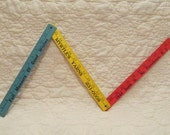 Vintage wood Folding Ruler  3 foot 3 fold Advertising SALE