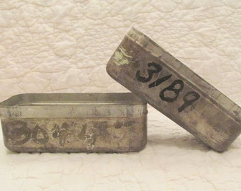 2 Antique Tin Storage Boxes from Old Industrial Mill