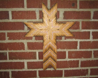 "Vintage Folk Art 18"" Hanging Cross Fashioned from Burnt Matchsticks"