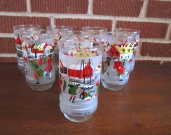 Vintage Mid Century Set of 8 Drinking Glasses with New England Winter Design