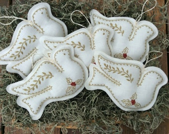 Dove Christmas Ornaments /Hand Embroidered on Linen /Holiday Bowl Fillers