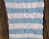 REDUCED Lovely baby crochet blanket in bold color blocks of blue and creamy white