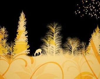 Deer Photomontage Art, Southwestern Totem Animal, Doe Silhouette, Autumn Woodland, Orange Wall Hanging, Home Decor, 8 x 8 Giclee Print
