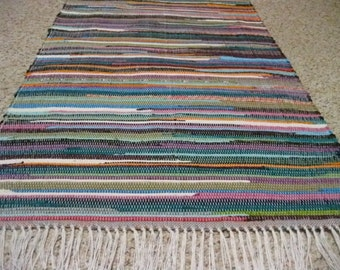 Handwoven Bright Multi Rag Rug 25 x 58""