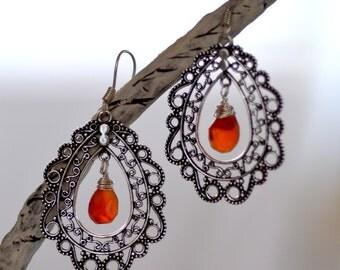 Orange Carnelian Earrings.  Sterling Silver Earrings.  Lacy Filigree Earrings. Boho Earrings.  Fine Statement Earrings. Bohemian Jewelry