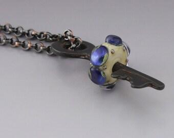 Ivory Cream Blue Luster Metallic Dots Rustic Skeleton Key Copper Pendant Necklace Lampwork Handmade Glass Heather Behrendt SRA 3516