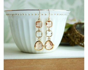 Champagne Peach Earrings. Peach and Clear Crystal Glass, Gold Framed Peach Dangle Long Earring. Peach and Gold Wedding, Bridesmaid Earrings