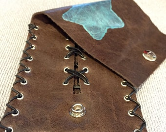 """4.75""""X3.5"""" genuine leather pouch with hand painted metallic turquoise lumiere star"""