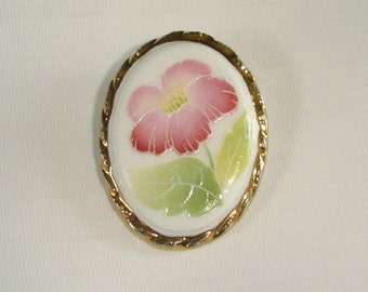 Vintage Oval Porcelain Button with a Flower in full bloom
