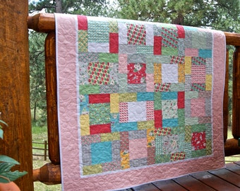 Quilt Baby Toddler Bumble Berries Scrappy Patchwork Children Nursery Bedding Red Green Gray Blue Bees Strawberries