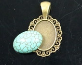 5 Sets 13x18mm Howlite Turquoise Oval Cabochon with Matching Antique Brass Bezel Pendant - 13x18mm 6mm thickness
