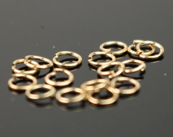 3mm THIN Jump Rings, 200 Pinky Gold (Rose Gold) Plated Jump Rings Jumprings Open 3x0.4mm 26 Gauge 26G Connector - ship from California USA