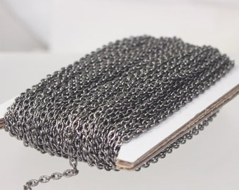 Gunmetal Texture Chain Bulk, 50 ft. of Flat Texture Oval Chunky Cable Chain - 3x2mm Unsoldered - Necklace Bracelet Chain