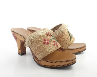 Wood Sandals Straw Vintage 1960s Woven High Heel Women's