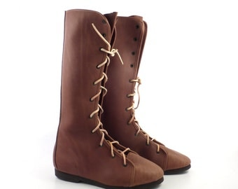 Tall Leather Boots Vintage Brown Leather Tall Moccasin Handmade Men's size 6 Women's size 7 1/2