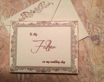 To My Father on my Wedding Day Card, Dad Card, Father of the Bride Card