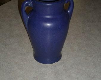 McCoy Pottery stoneware mottled cobalt blue glaze handled VASE circa 1920's