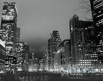Chicago Night Skyline 2 - Fine Art Photograpy - 12x6 panoramic, other sizes available - fPOE