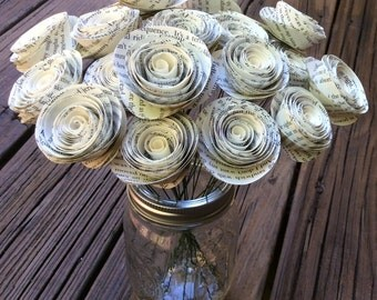 Book Pages Rolled Paper Flowers, Spiral Paper Roses (20) Centerpiece Wedding, Shower, Anniversary, Party/Table decoration