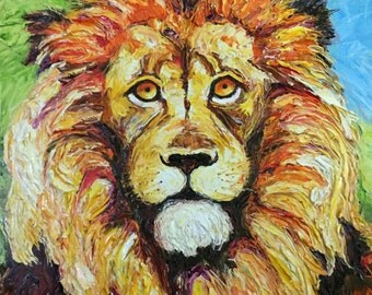 Lion 24x30x3 Inch Original Impasto Oil Painting by Paris Wyatt Llanso