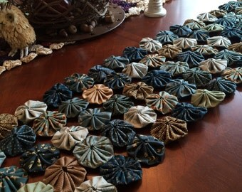 Dusty blue fabric Yoyo quilt tablerunner